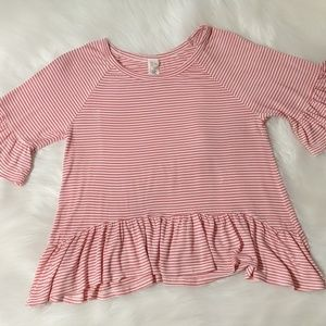 Tops - 🍋 Pink and white striped ruffle top